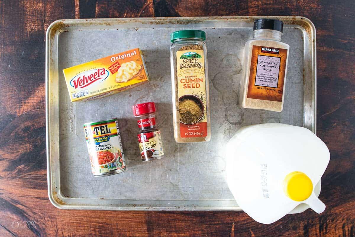 ingredients for velveta cheese sauce
