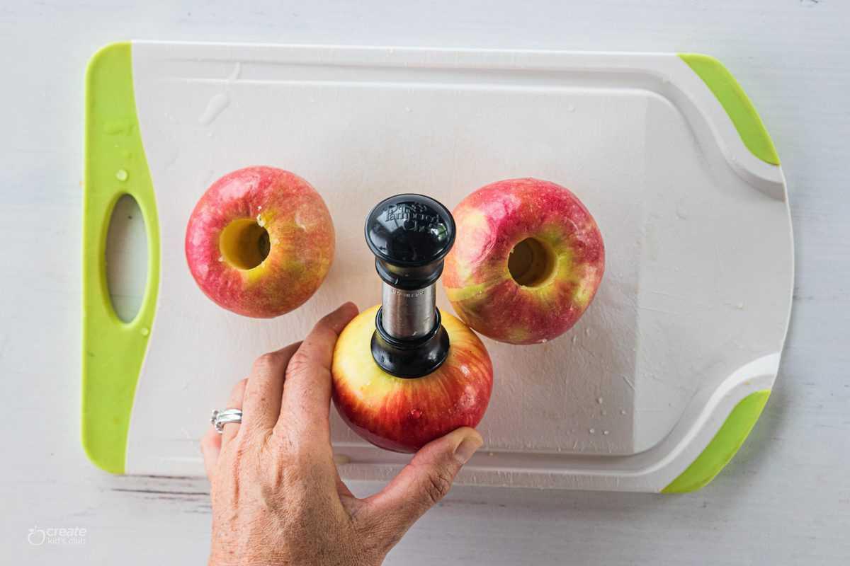 apple corer in center of apple