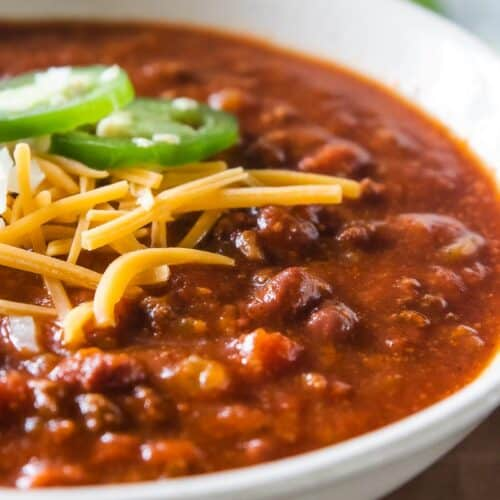 chili in a bowl with toppings