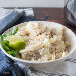 boiled chicken and rice in serving bowl