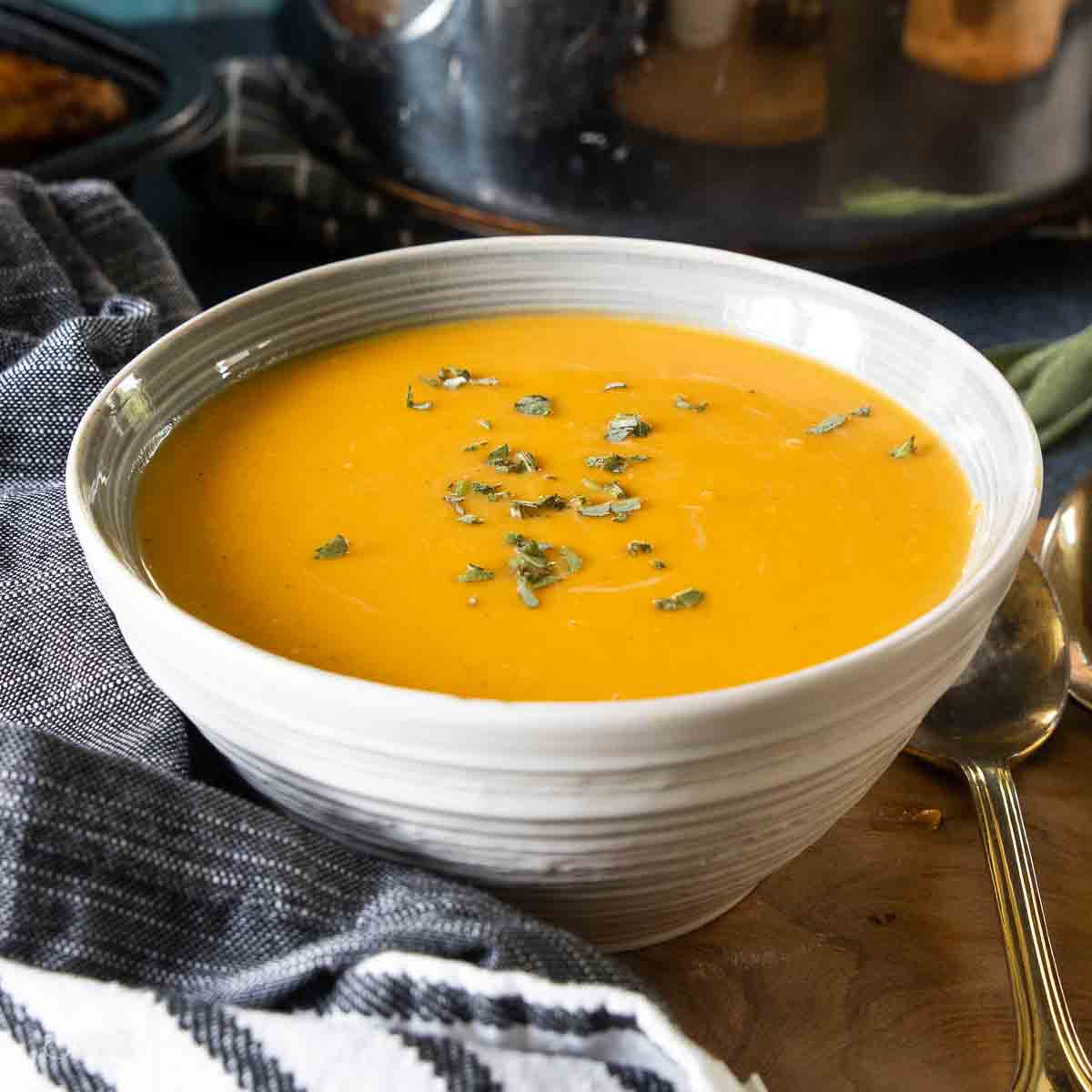 soup in serving bowl