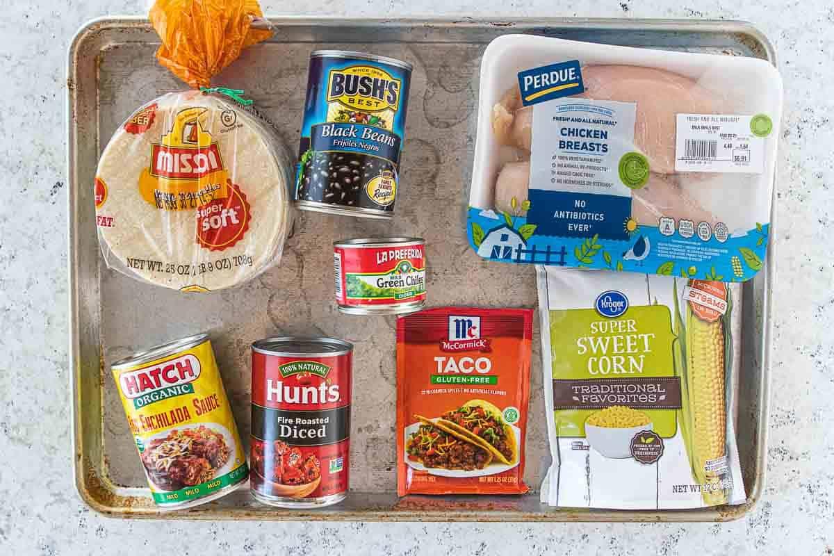ingredients for chicken enchilada crockpot meal