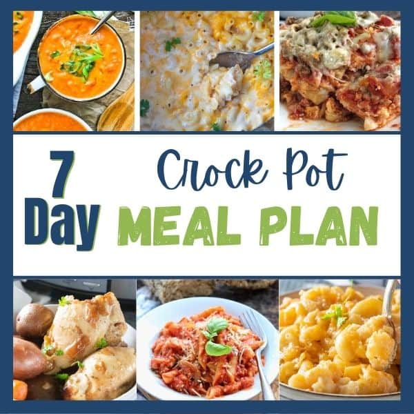 6 pics of crockpot meals for a week of crockpot meals roundup.