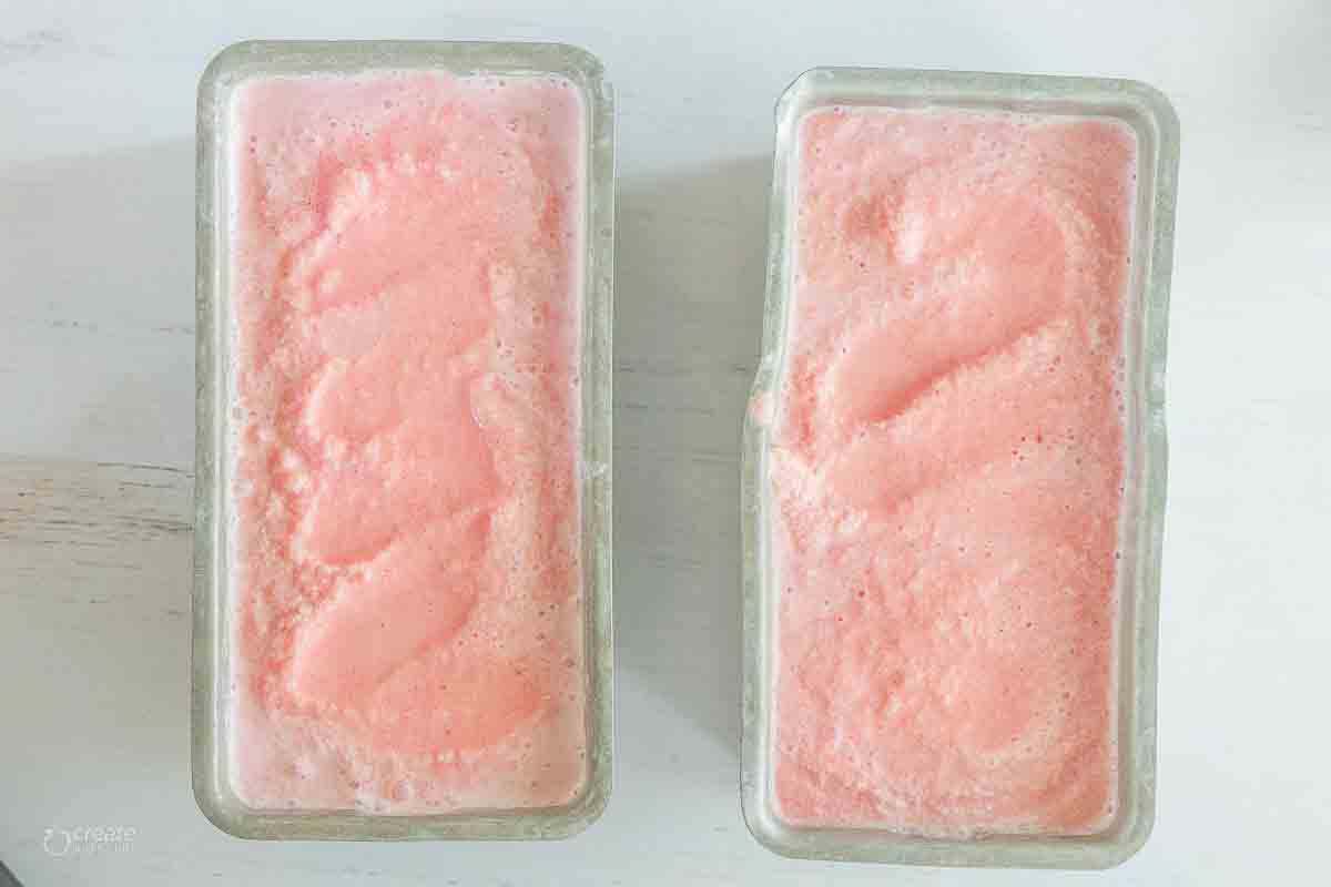 watermelon ice cream in loaf pans