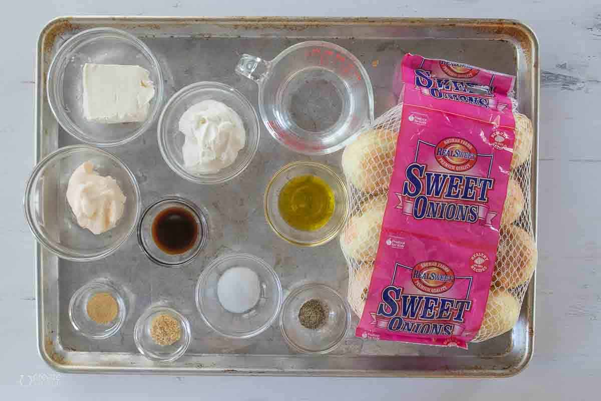 ingredients for caramelized sweet onion dip