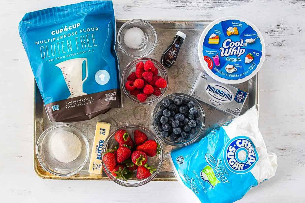 ingredients for Christmas fruit tart on baking sheet