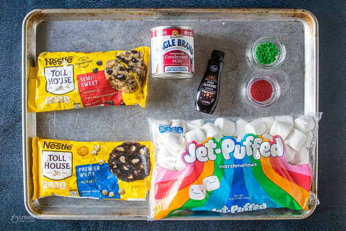 ingredients for Christmas story fudge on baking sheet