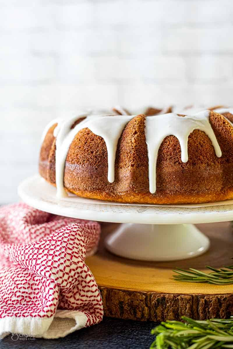 Bundt cake drizzled with icing
