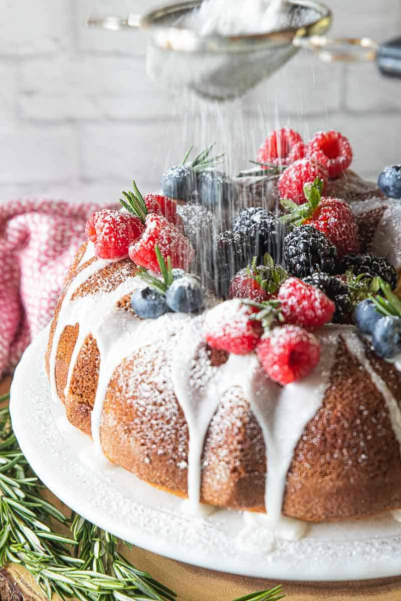 powdered sugar dusted on top of Bundt cake