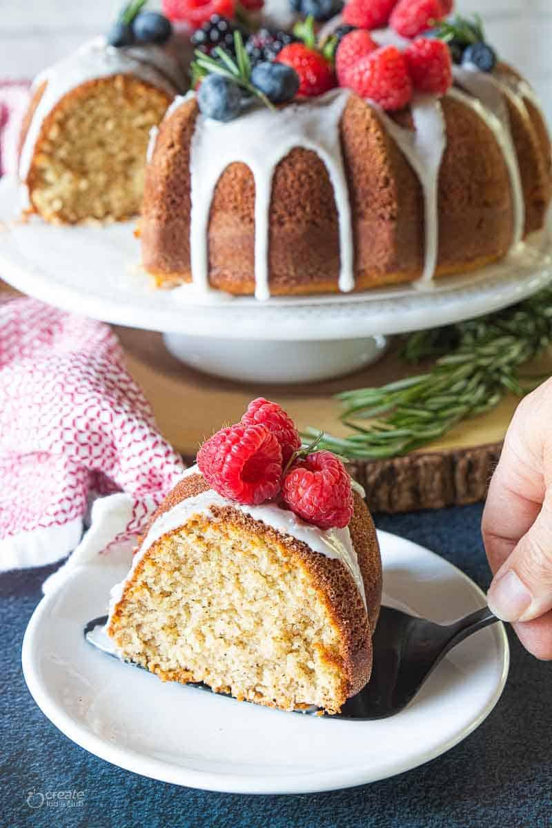 slice of gluten free Bundt cake on plate
