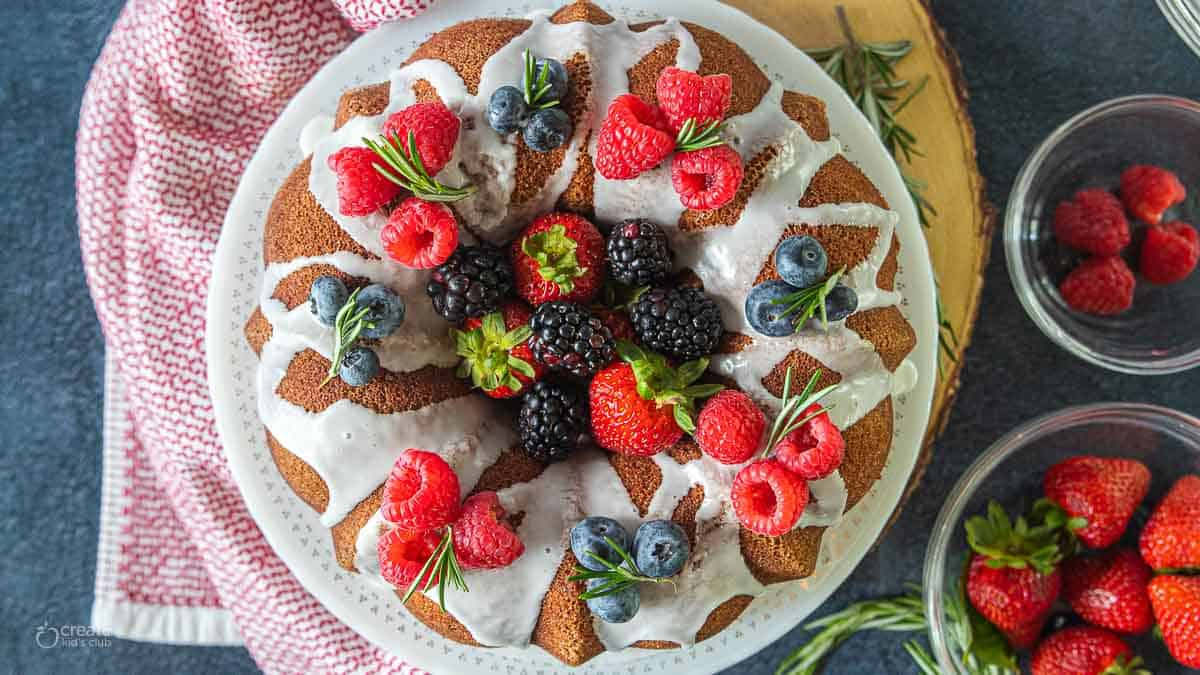 Christmas wreath Bundt cake topped with berries