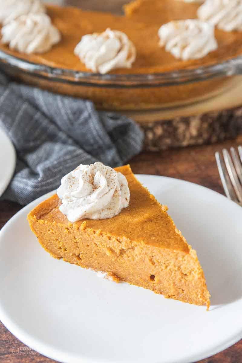 slice of gluten free pumpkin pie on plate