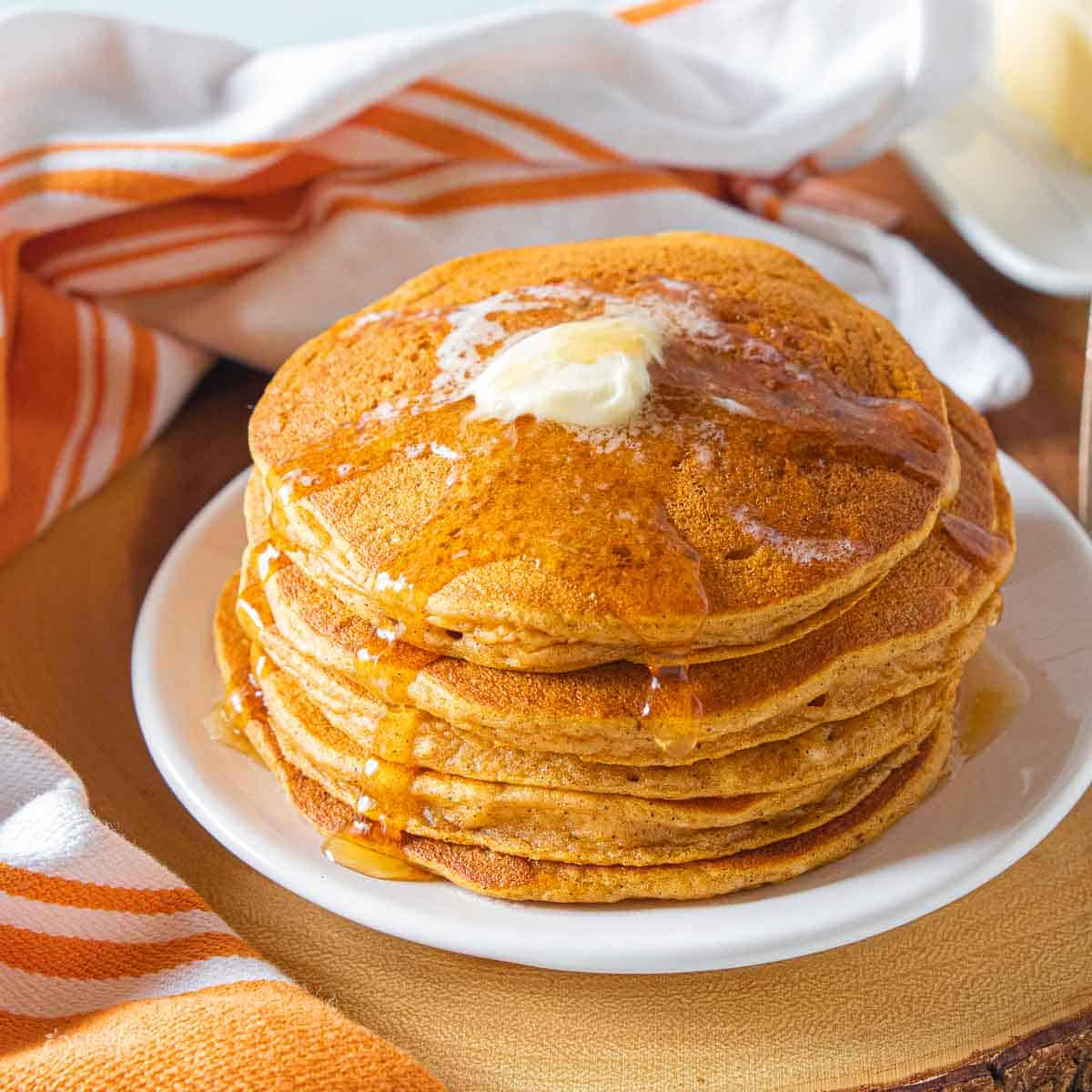 stacked gluten-free pumpkin pancakes