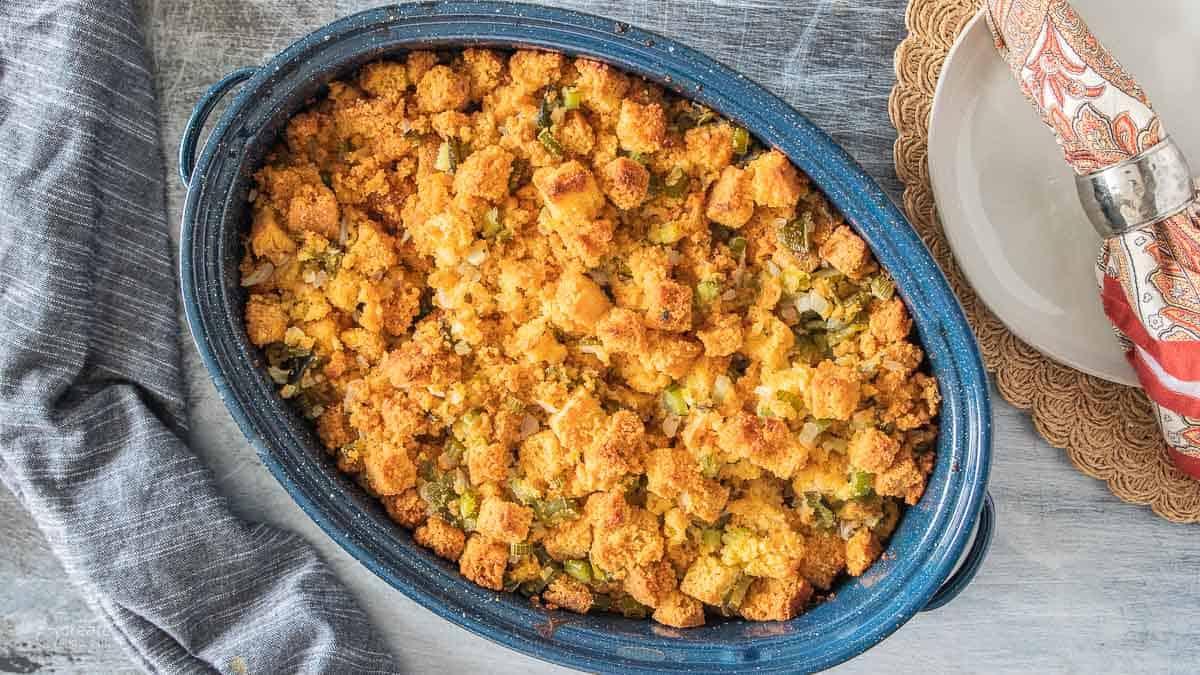 baked gluten free cornbread stuffing in pan