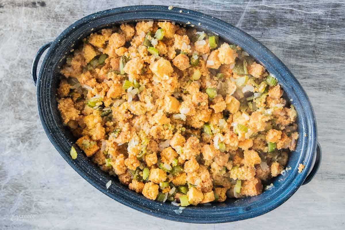 baking dish filled with gluten-free cornbread stuffing