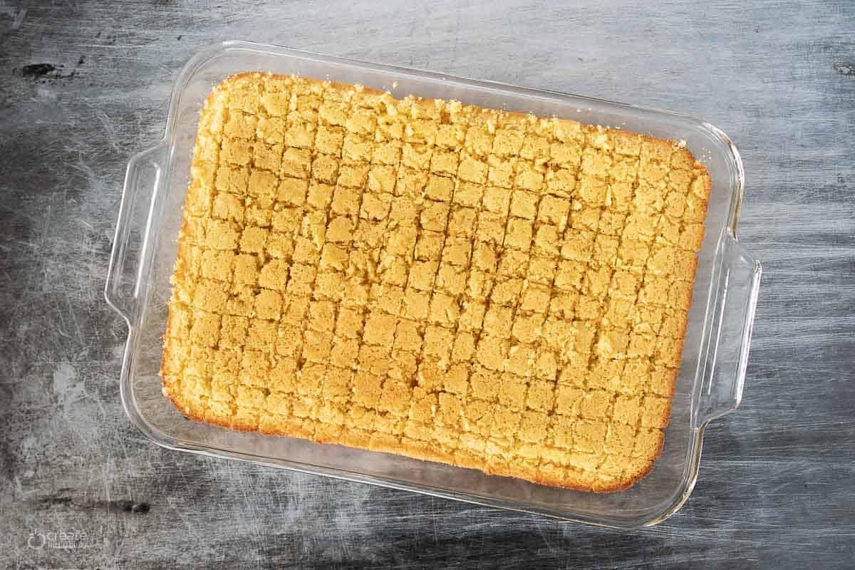 gluten free baked cornbread in a baking dish