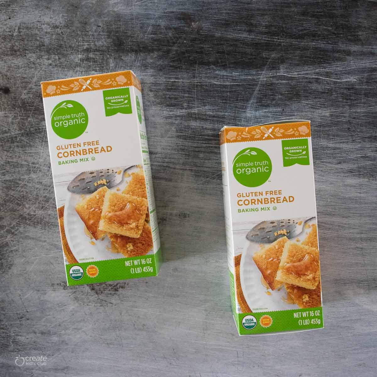 cartons of gluten free cornbread baking mix