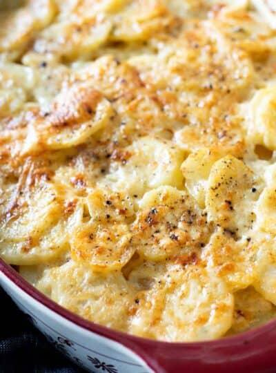 gluten free scalloped potatoes in baking dish