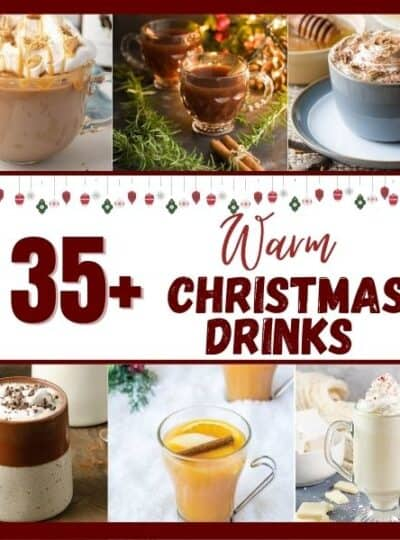 6 pictures of warm Christmas drinks.